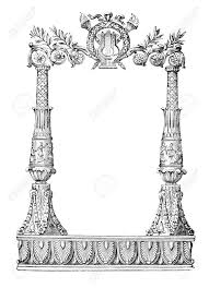 19th century engraving of an ornate book decoration stock photo 42494408