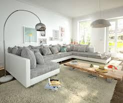 Details Zu Couch Clovis Xl Weiss Hellgrau Mit Hocker Wohnlandschaft Modular