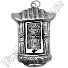 details about silver prayer wheel pendant tibet nepal buddhist om mani padme hum 925 sterling