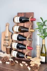 chic diy rustic wine rack with rope