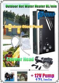 portable outdoor 8l gas hot water heater califont 12v 17l pump
