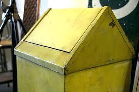 vintage trash can metal yellow kitchen cans kitchenaid compactor ki