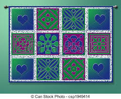 Quilt graphic hanging on rod drawing - Search Clip Art ... & Quilt Graphic Stock Illustration Adamdwight.com