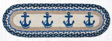 blue anchors 100 natural braided jute rug 27 x 8 25 oval