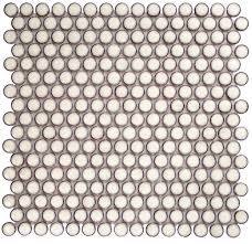 Eden Rimmed Winter White Penny Round Polished Ceramic Tile