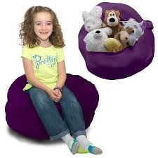 SOFTEST Stuffed Animal Storage Bean Bag Chair - Comfy Plush Fabric Kids  Love - 6 Colors