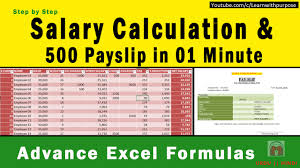 How To Create Payroll Salary Sheet 500 Payslip In 01 Minute With