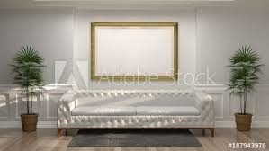 mock up empty golden photo frame with white sofa in front of empty white wall decorative items