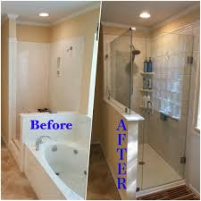 Custom walk-in shower and Iceberg and New Rebath shower wall system in Old  World