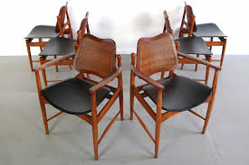 stunning set of six 6 arne vodder teak cane dining chairs denmark