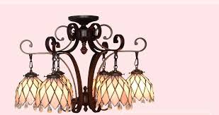fumat tiffany style stained glass handcrafted chandelier wrought iron pink fl design with 6 lights