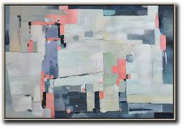 large abstract wall art white pink