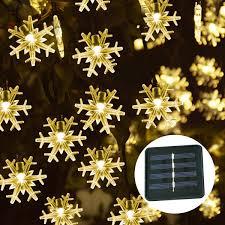Snowflake Solar Christmas Lights Amazon Com Windpnn 50led Solar Snowflake String Lights