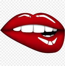 lip biting cartoon lips png image with