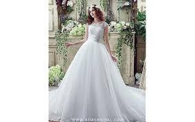 1549149456 lace organza scoop neckline ball gown wedding dress with rhinestones