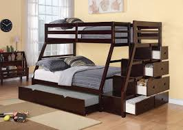 Espresso Finish Twin Full Size Bunk Bed Storage Ladder Trundle