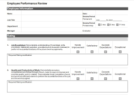Simple Employee Review Simple Employee Performance Review Template Excel And Word