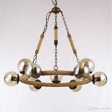 vintage modo pendant lights hemp rope iron art pendant lamp amber glass lamp shade chandelier home bar lighting fixture modern ceiling lights hanging lamp