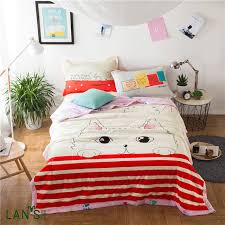 3pcs Bedding Sets 100%Washable Cotton Summer Quilts With ... & 3pcs Bedding Sets 100%Washable Cotton Summer Quilts With Pillowcases 2017  Chic Cat Printed Duvets Adamdwight.com