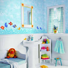 Bathroom, Joyful Kids Bathroom Ideas And Decor With White Theme Bathroom  Interiror And Round Sink ...