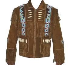 mens brown buffalo hide leather jacket fringe bone bead work xs to 5x