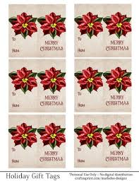 Poinsettia Designs Merry Christmas Gift Tags Red Poinsettia Flower Folding Design