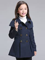 solid color casual double ted long sleeves girl s trench coats
