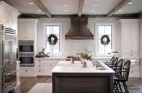 large elegant kitchen design with big kitchen island and two windows  decoration