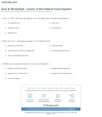 Quiz Worksheet Levels Of The Federal Court System