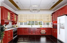 View in gallery Eclectic kitchen design with island bar and cool blue  ceiling
