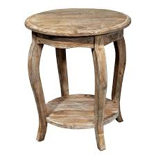 round rustic brown wooden side table with shelf and four legs