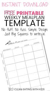 dinner template free printable weekly meal plan template clean eating with