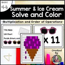 June Summer Ice Cream Solve And Color Multiplication And Order Of Operations