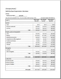 Depreciation Schedule Calculator Bulk Purchase Depreciation Calculator Word Excel Templates