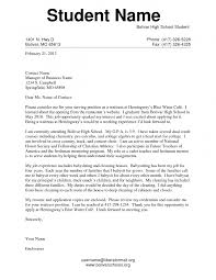 Examples Of Cover Letters For High Schoolers Perfect Resume Format