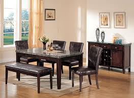 Marble Top Kitchen Table Set Acme 07058 Danville 6pcs Dining Set Black Marble Walnut