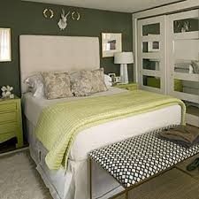 Contemporary green bedroom.