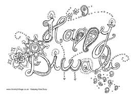 Small Picture Happy Diwali Colouring Page