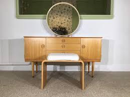 retro stunning dressing table schreiber light blonde round mirror stool vintage danish style