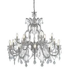 lighting home chandeliers marie therese chrome 18 light chandelier with crystal drops