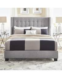 Surprise 15% f Melina Tufted Grey Linen Wingback Bed by iNSPIRE