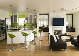 Living Room Design For Apartment White Curved Bar Table In Open Kitchen Of Apartment Design Ideas