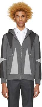 neil barrett grey panelled hoo men neil barrett lightning bolt bonded jersey sweatshirt authorized