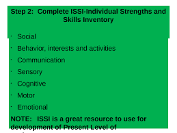 Individual Strengths Step 2 Complete Issi Individual Strengths And Skills Inventory