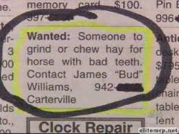 Image result for images funny classified ads