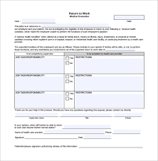 16+ Return To Work Medical Form Templates – Pdf, Word | Sample Templates