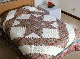 Log Cabin Star Quilt -- magnificent meticulously made Amish Quilts ... & Sage and Pressed Flowers Log Cabin Star Quilt Photo 1 ... Adamdwight.com