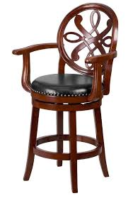counter height bar stool swivel high chair carved wood arms elegant leather seat