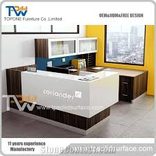 tops office furniture. Professional Factory Supply Artificial Marble Stone Interior Office Furniture, Corian Acrylic Solid Surface L Shape Front Desk Tops Furniture R