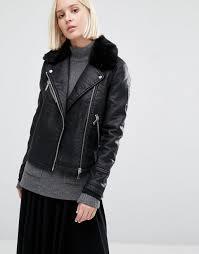 warehouse faux fur collar leather look jacket black women jackets warehouse dresses us designer fashion